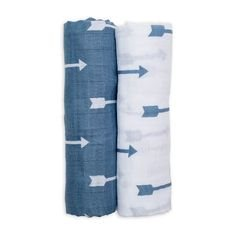 2 Couvertures mousseline de Coton 100x100 cm - Blue Arrows Bleu