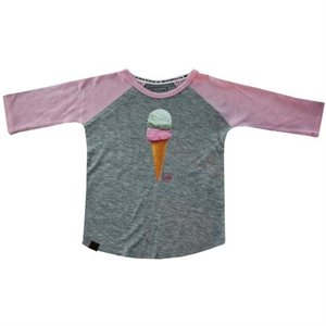 Chandail style baseball - Ice Cream II 12-18 mois Gris & Rose