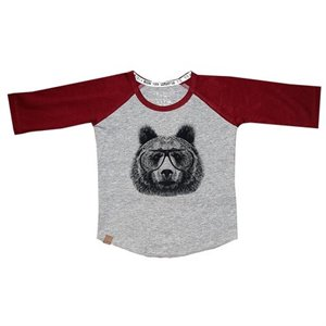 Chandail style baseball - Ours - Red 6-12 mois