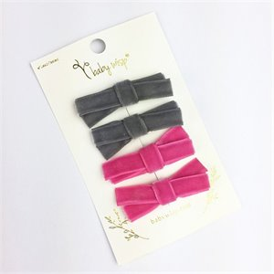 Ensemble de 4 barrettes velours Velvet - Rose et Grise