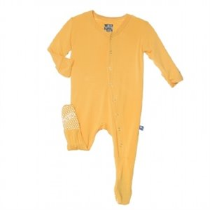 Pyjama 1 pc footie - Jaune moutarde Fuzzy Bee - Bambou 6-12 mois