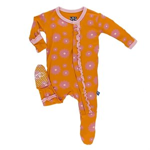 Pyjama 1 pce - Print muffin Ruffle footie - Sunset Water Lily - Fleurs 6-12 mois Orange