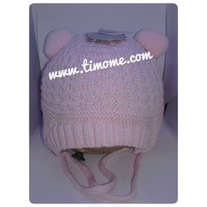 Tuque Tricot ours avec cordon - Pink 3-9 mois Rose