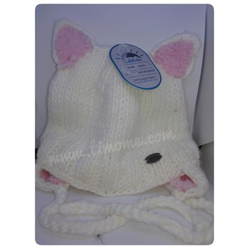Tuque tricot chat - White