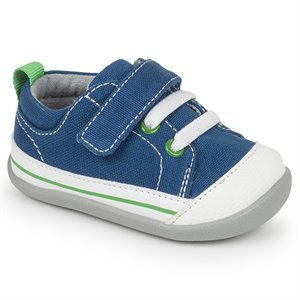 Stevie II - Velcro & Faux Lacets - Navy Canvas Marine Navy