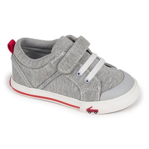 Tanner - Velcro & Faux Lacets - Grey Jersey  Gris claire