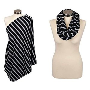 Foulard infini d'allaitement - Black and Grey Stripe