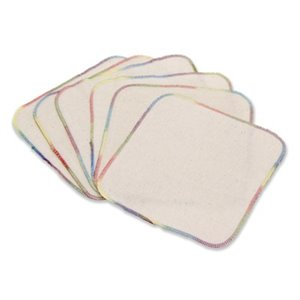 Lot de 6 Lingettes / Débarbouillettes - Flanelle non blanchie - Naturel