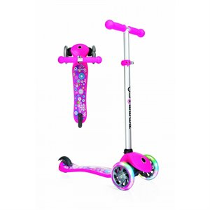 Trottinette évolutive - Globber My Free Fantasy Lights Scooter - Flower Rose