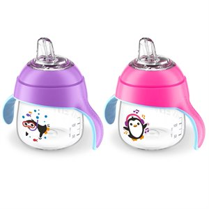 2 gobelets a bec souple My Little Sippy Cup - Pingouin - 7oz 200 ml 6m+ Violet & Rose