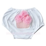 Cache couche Bloomers Cup Cake - Taille XS - 3-12 mois Blanc/Rose