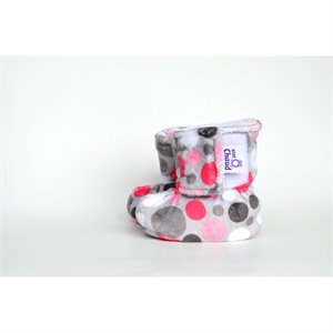 Pantoufle - Chausson botte Minky - Gros pois rouge
