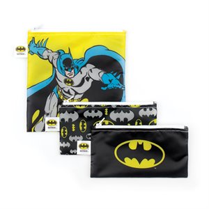 Ensemble de 3 sacs à Sandwich et Collation réutilisables - Comics Batman