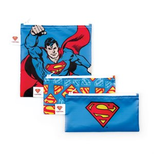 Ensemble de 3 sacs à Sandwich et Collation réutilisables - Comics Superman