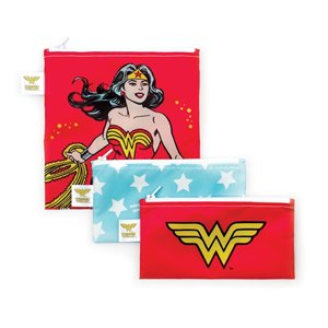 Ensemble de 3 sacs à Sandwich et Collation réutilisables - Comics Wonder Woman