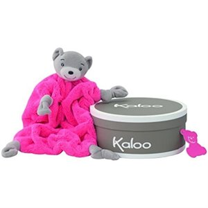 Doudou Ourson plume - Pink fluo Rose