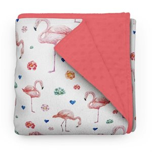 Couverture en minky - Flamant rose