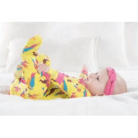 Pyjama en Bambou ruffle Footie - 1 pièce zipper -  Banana tropical birds