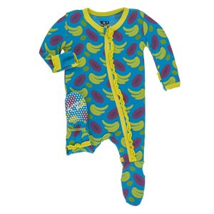 Pyjama en Bambou ruffle Footie - 1 pièce zipper -  Tropical Fruit