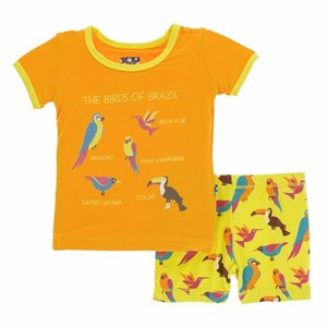 Pyjama en Bambou short 2 pièces - Banana tropical bird