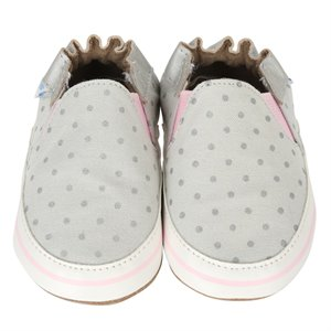Soft Soles - Dot mania Metallic grey - Gris & Rose à pois