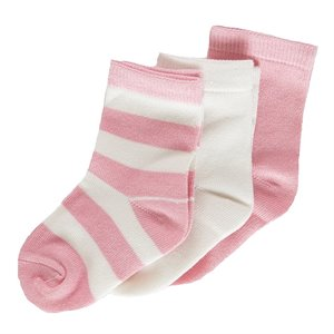 Bas Chaussette 3 paires en Bambou - Rose / rose rayer / blanc 6-12 mois / 17-18