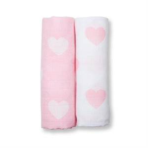 2 Couvertures mousseline de Coton 100x100 cm - Coeur Pink Hearth Rose