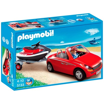 playmobil voiture avec remorque et jet ski moto marine. Black Bedroom Furniture Sets. Home Design Ideas
